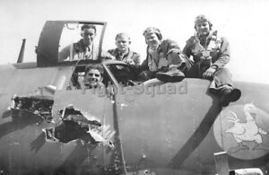 WW2 Picture Photo US Crew of bomber B-26 Marauder after a mission  3669