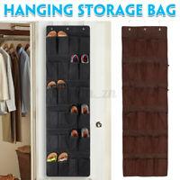 24 Pocket Shoe Holder Bag Organiser Over Door Hanging Shelf Rack Storage Hoo