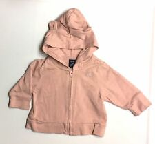 Baby Gap VGUC 0-3M Girl Pink Bear Ear Zip Up Hooded Hoody Sweatshirt Jacket