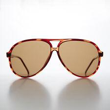 1980s Polarized Aviator Sunglass Glass Teardrop Lens Tortoise /Brown Lens-HAMA