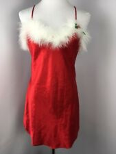 Cinema Etoile Womens Nightgown Slip Boa S Cami Red Christmas Miss Claus Chemise