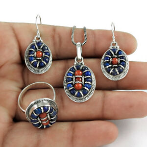 CORAL LAPIS Gemstone 925 Sterling SOLID Silver Handmade WOMAN GIFT Jewellery Set