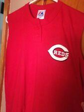 Men's Majestic LARGE Sleeveless 2 Button Cincinnati Reds Athletic T-Shirt