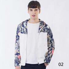 Fashion Mens Zipper Slim Floral Jacket Male Windbreaker Patchwork Jackets Coats