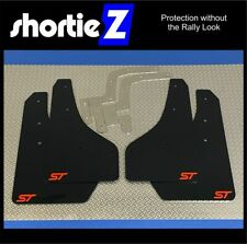 Qty4 *ShortieZ* Mudflaps & Fixings to fit Ford Focus Mk3 ST250 Black 4mm PVC-Red