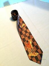 JE SUIS STAGS ON RECTANGLES WITH HOLOGRAM PAISLEY 100% SILK TIE  NECKTIE