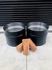 Black Half Barrel Fire Pits, Wood Burner, Outdoor Heater, 44 Gallon Drum, BBQ