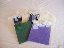 HANDMADE PAPER GIFT BAGS - SET OF 6 TAN & NAVY