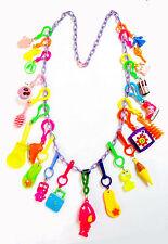 VINTAGE Plastic Charms T Necklace 21 Charm 80cm Retro Fashion Jewellery Chain