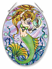 "Mermaid Sun Catcher Seahorse AMIA Large Oval Hand Painted 6.5"" x 9"" New Water"