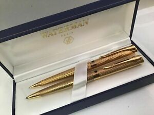 Waterman L`etalon Gold Ballpoint Pen  & 0.5 Pencil Set New In Box