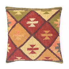 Kilim Cushion Cover 18x18 Decorative Jute Square Pillow Cases Indian Handwoven