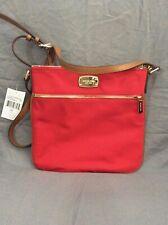 Brand New Michael Kors Jet Set Red Nylon Flat Crossbody Handbag w/ Gold Accents