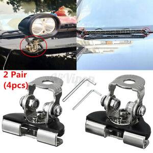 2x Universal A Pillar Hood LED Work Light Bar Mount Bracket Clamp Holder