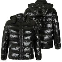 Childrens Boys Padded Puffer Quilted Hooded Winter Shiny Coat School Warm Jacket