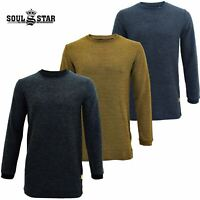 Mens Soul Star Longline Think Waffle Knit Crew Neck Long Sleeve Jumper Sweater