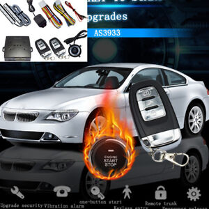 Upgrade Car Entry Security System Kit Engine Start Button Vibration Alarm Remote