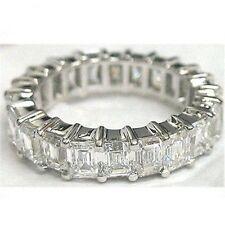4.60 carat Platinum Emerald cut DIAMOND Band ETERNITY Ring,  E-F VVS/VS size 5