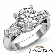 2ct Round Cut Diamond Engagement 3 Stone Prong Set Ring GIA F VS2 14k White Gold