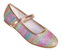 Girls Kids Rainbow Pink Blue Green Glitter Sparkly Ballerina Flat Party Shoes
