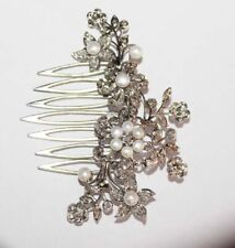 3.92cts ROSE CUT DIAMOND PEARL ANTIQUE VICTORIAN LOOK SILVER HAIR BROOCH PIN