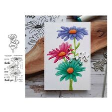 Flowers Warm Words Transparent Clear Stamps with Cutting Dies Diy Scrapbooking