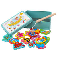 15PCs Fish Wooden Magnetic Fishing Toy Set Fish Game Educational Fishing Toy