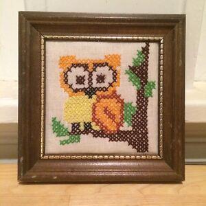 Vintage Retro OWL Framed Cross Stitch Embroidery Primitive Folk Art Signed