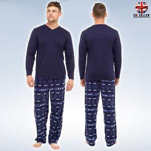 Mens Winter Pyjamas Super Soft Jersey Top & Fleece Trousers (S to 8XL)