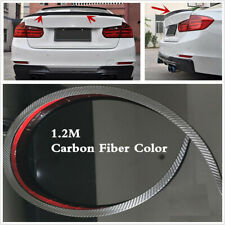 120cm Carbon Fiber Look Car Rear Roof Trunk Spoiler Rear Wing Lip Trim Sticker
