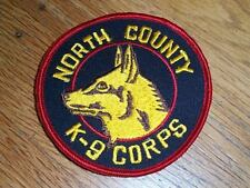 "VINTAGE NORTH COUNTY K-9 CORPS PATCH 3 1/2"" EMBROIDERED CALIFORNIA 1974 COLLECTI"