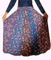Indian 100% cotton Long Skirt Floral Print Hippie Women Plus size Blue Color