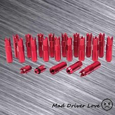 Red M12x1.5mm Open End Crown Style T-7075 Aluminum Extended Lug Nuts 20PC/Set
