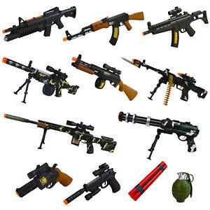 Toy Gun Kids Army Military Rifle Machine Guns Pistol AK47 Lights Vibration Sound