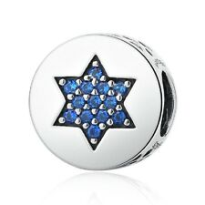 💕925 Sterling Silver Blue Cubic Zirconia Star Bead Charm For European Bracelets