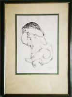 Quadro Ib Spang Olsen disegno inchiostro su cartoncino di bebè 50x36 cm