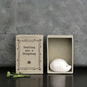 Porcelain Hedgehog Matchbox Gift - Sending You A Hedgehug - East Of India