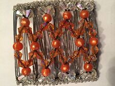 EZ Stretch Hair Comb Hand Made African Multicolor Glass Bead Work