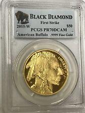 2015 W $50 PROOF 1 OZ GOLD BUFFALO PCGS PR70 FIRST STRIKE BLACK DIAMOND