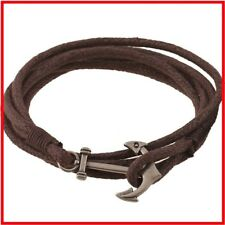 Genuine Leather Vintage Brown Hand Knitted Cord Anchor Bracelet Mens and Women