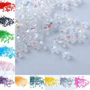 UP 100pcs 3mm Charms Bicone Faceted Swarovski Crystal Loose Spacer Jewelry Beads