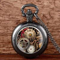 Vintage Antique Pocket Watch Chain Steampunk Gears Necklace Pendant Retro New