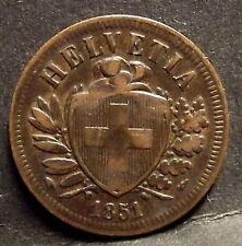SUISSE - 2 RAPPEN 1851 A - Bronze