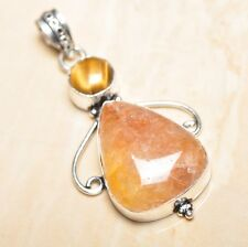 "Handmade Calcite Jasper Gemstone 925 Sterling Silver Pendant 2.25"" #P16153"