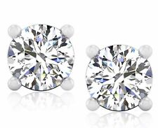 Round Cut VVS 4.00 Ct Solitaire Diamond Earrings Hallmarked 14K White Gold Studs