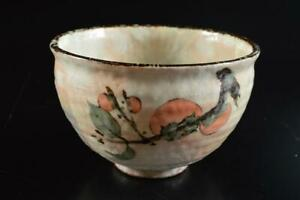 #7366: Japanese Kiyomizu-ware Colored porcelain Persimmon pattern TEA BOWL