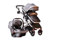 3 in 1 Grey Combi Stroller Travel System Baby Pram Pushchair Cover Aluminium
