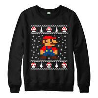 Super Mario Christmas Jumper, 8 Bit Gaming Xmas Present Festive Gift Jumper Top