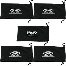 5 Black LARGE Sunglasses Sunglass Glasses Pouch Case very soft **U.S. SELLER**