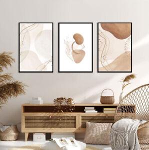 Boho Set of 3 Prints A3 Poster Modern Bedroom Living Room Brown UNFRAMED